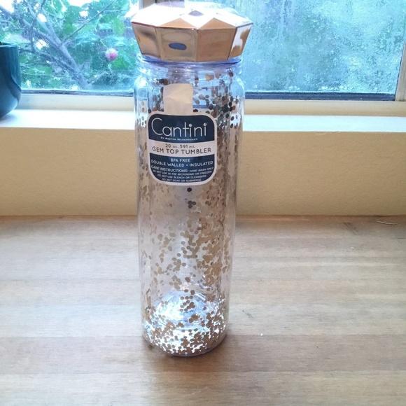 Gold Glitter Confetti Water Tumbler (BPA free)